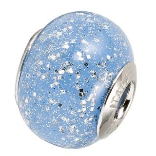 Amore Baci Plavi Svetlucavi srebrni privezak od murano stakla za narukvicu