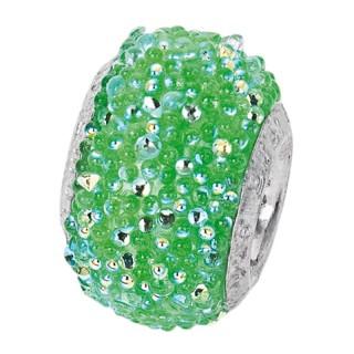 Amore Baci Svetlucavi Zeleni srebrni privezak sa swarovski kristalom za narukvicu