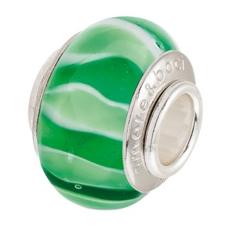 Amore Baci Zeleni Talasi srebrni privezak od murano stakla za narukvicu