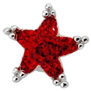 Amore Baci Crvena Zvezdica srebrne mindjuše sa swarovski kristalom