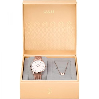Cluse Minuit Heart Beli Roze Zlatni Ručni Sat i Narukvica u Poklon Kutiji