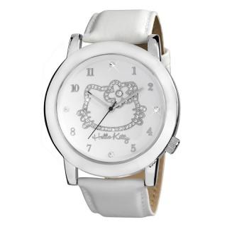 Dečji Hello Kitty Kristal Beli ručni sat sa belim kožnim kaišem
