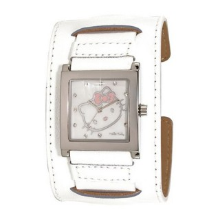 Dečji Hello Kitty Kvadratni Beli ručni sat sa belim kožnim kaišem