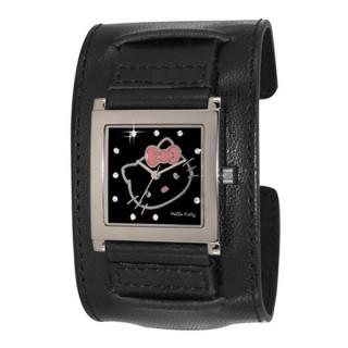 Dečji Hello Kitty Kvadratni Crni ručni sat sa crnim kožnim kaišem