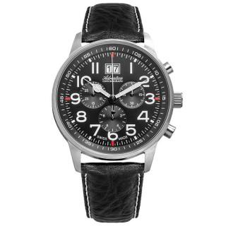 Muški Adriatica Aviation Hronograf Big Date Crni Elegantni Ručni Sat Sa Crnim Kožnim Kaišem