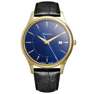 Muški Adriatica Pairs Safir Plavi Zlatni Elegantni Ručni Sat Sa Crnim Kožnim Kaišem