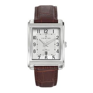 Muški Certus Kvadratni Elegantni ručni sat sa braon kroko kaišem