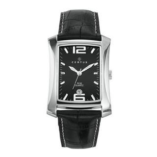 Muški Certus Kvadratni Crni Elegantni ručni sat sa crnim kroko kaišem
