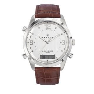 Muški Certus Alarm Beli Elegantni ručni sat sa braon kroko kožnim kaišem