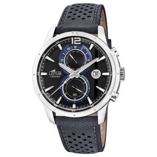 Muški Lotus Chrono Crni Elegantni ručni sat sa plavim kožnim kaišem