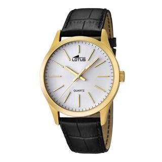 Muški Lotus Minimalist Zlatni Beli Quartz Elegantni ručni sat sa crnim kožnim kaišem