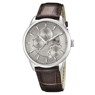 Muški Lotus Multifuncion Day Date Sivi Elegantni ručni sat sa braon kožnim kaišem