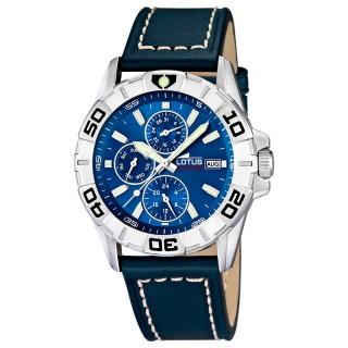 Muški Lotus Multifuncion Plavi Sportski ručni sat sa minutnom koronom i crnim kožnim kaišem