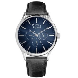 Muški Pierre Ricaud Chronograph Plavi Srebrni Elegantni Ručni Sat Sa Crnim Kožnim Kaišem