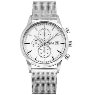 Muški Pierre Ricaud Chronograph Beli Srebrni Elegantni Ručni Sat Sa Srebrnim Pancir Metalnim Kaišem