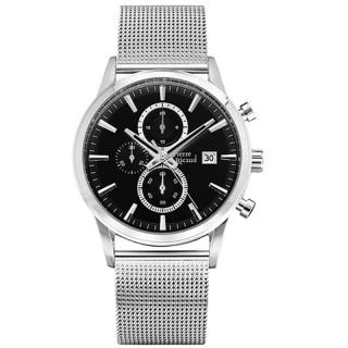 Muški Pierre Ricaud Chronograph Crni Srebrni Elegantni Ručni Sat Sa Srebrnim Pancir Metalnim Kaišem