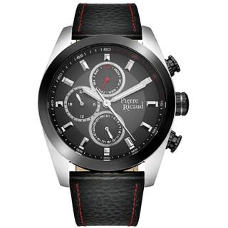 Muški Pierre Ricaud Chronograph Crni Srebrni Elegantni Ručni Sat Sa Crnim Kožnim Kaišem