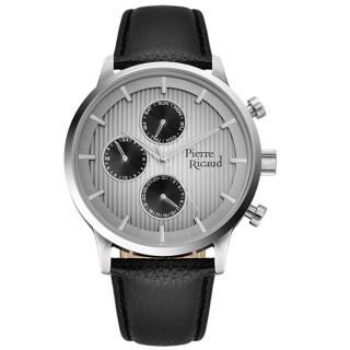 Muški Pierre Ricaud Chronograph Sivo Srebrni Elegantni Ručni Sat Sa Crnim Kožnim Kaišem