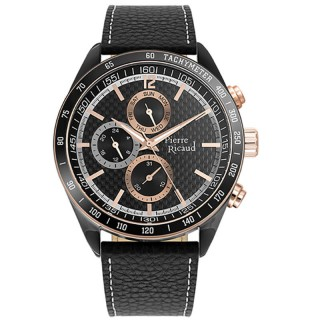 Muški Pierre Ricaud Chronograph Crni Karbon Elegantni Ručni Sat Sa Crnim Kožnim Kaišem