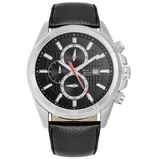 Muški Pierre Ricaud Chronograph Crni Srebrni Sportski Ručni Sat Sa Crnim Kožnim Kaišem