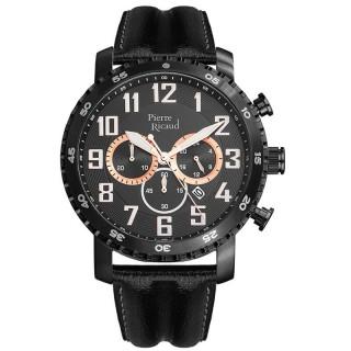 Muški Pierre Ricaud Chronograph Crni Sportski Ručni Sat Sa Crnim Kožnim Kaišem