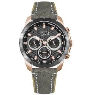 Muški Pierre Ricaud Chronograph Sivi Roze Zlatni Sportski Ručni Sat Sa Sivim Kožnim Kaišem