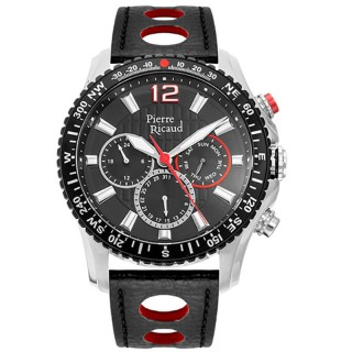 Muški Pierre Ricaud Chronograph Crveno Crni Sportski Ručni Sat Sa Crnim Kožnim Kaišem