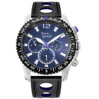 Muški Pierre Ricaud Chronograph Plavi Sportski Ručni Sat Sa Crnim Kožnim Kaišem