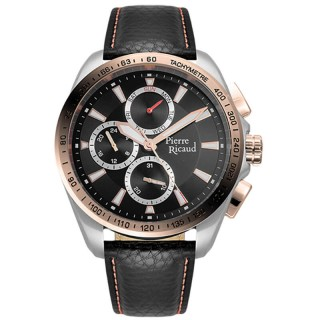Muški Pierre Ricaud Chronograph Crni Roze Zlatni Sportski Ručni Sat Sa Crnim Kožnim Kaišem