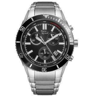 Muški Pierre Ricaud Chronograph Tachymeter Crni Srebrni Sportski Ručni Sat Sa Metalnim Kaišem