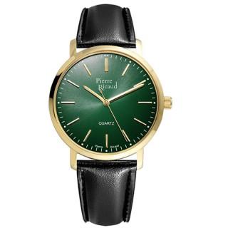 Muški Pierre Ricaud Quartz Safir Zeleni Elegantni Ručni Sat Sa Crnim Kožnim Kaišem