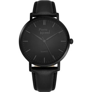 Muški Pierre Ricaud Quartz Crni Elegantni Ručni Sat Sa Crnim Kožnim Kaišem