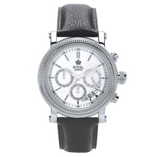 Muški Royal London Chrono Datum Srebrni Elegantni ručni sat sa crnim kožnim kaišem
