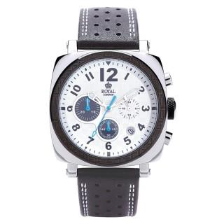 Muški Royal London Chrono Belo Plavi Sportski ručni sat sa crnim kožnim kaišem