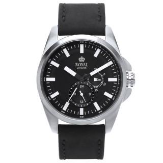 Muški Royal London Daring Srebrni Elegantni Crni ručni sat sa crnim mat kožnim kaišem