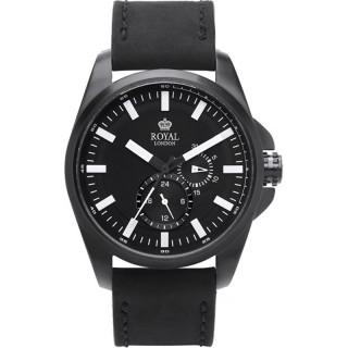 Muški Royal London Daring Crni Elegantni ručni sat sa crnim mat kožnim kaišem