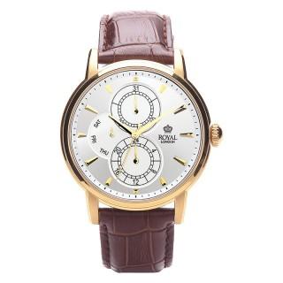 Muški Royal London Iconic Dan-Datum Zlatni Elegantni Beli ručni sat sa braon kroko kožnim kaišem