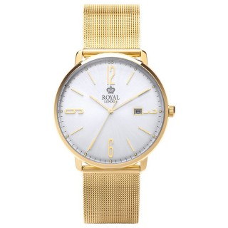 Muški Royal London Iconic Zlatni Elegantni ručni sat sa zlatnim pancir metalnim kaišem