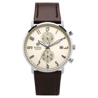 Muški Royal London Iconic Dan-Datum Bež Elegantni ručni sat sa mat braon kožnim kaišem