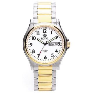 Muški Royal London Legacy Beli Elegantni ručni sat sa bikolor metalnim kaišem