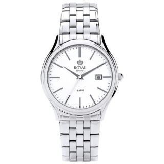 Muški Royal London Legacy Datum Beli Elegantni ručni sat sa metalnim kaišem