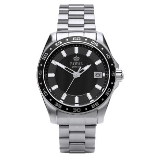 Muški Royal London Resident Crni Elegantni ručni sat sa metalnim kaišem
