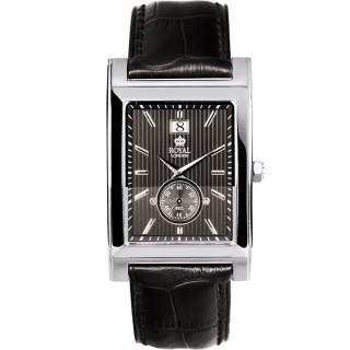 Muški Royal London Vintage Big Date Kvadratni Sivi Elegantni Ručni Sat Sa Crnim Kožnim Kaišem