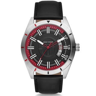 Muški Sergio Tacchini Coastlife Crno Crveni Srebrni Elegantni Ručni Sat Sa Crnim Kožnim Kaišem