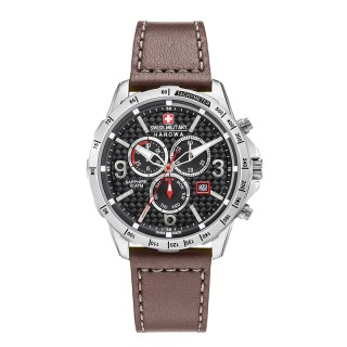 Muški Swiss Military Ace Chrono Crni Sportski ručni sat sa braon kožnim kaišem