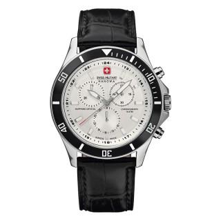 Muški Swiss Military Flagship Chrono Beli Elegantni ručni sat sa crnim kožnim kaišem