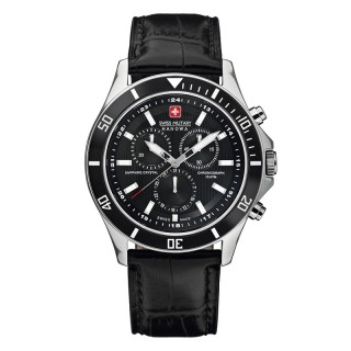 Muški Swiss Military Flagship Chrono Crni Elegantni ručni sat sa crnim kožnim kaišem