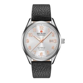 Muški Swiss Military Helvetus Automatik Beli Elegantni ručni sat sa crnim kožnim kaišem