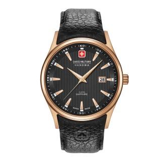 Muški Swiss Military Navalus Crni Roze Zlatni Elegantni ručni sat sa crnim kožnim kaišem