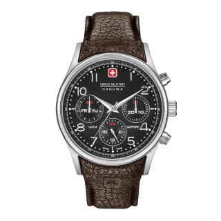 Muški Swiss Military Navalus Multifunction Crni Elegantni ručni sat sa tamno braon kožnim kaišem